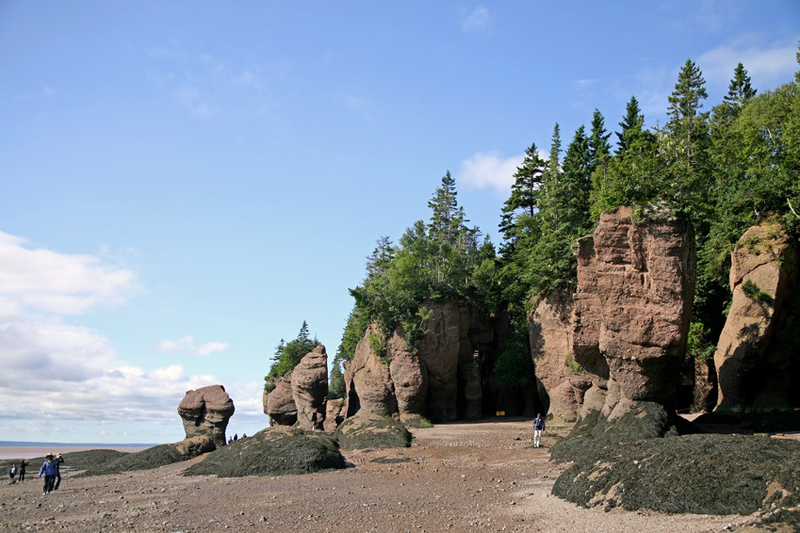 Hopewell Rocks, the famous 'Flower Pot Rocks' of New Brunswick, Canada at low tide.